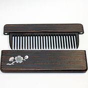 Сувениры и подарки handmade. Livemaster - original item Wooden wenge comb in case with Inc pearl Sakura branch. Handmade.