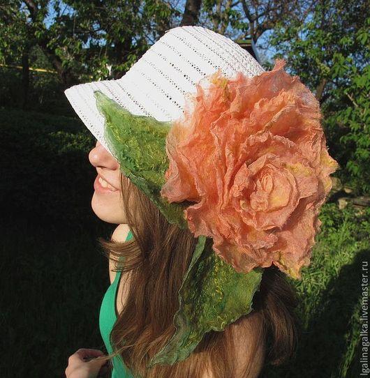 """Броши ручной работы. Ярмарка Мастеров - ручная работа. Купить """"Чайная Роза"""" Брошь на шляпку. Handmade. Оранжевый, подарок для женщины"""