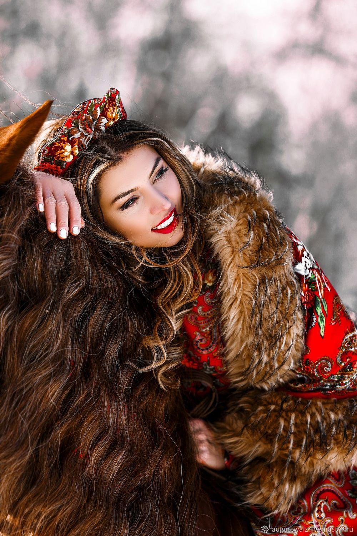 Двусторонняя тёплая шаль с эко мехом в стиле А-ля Русс, Пончо, Санкт-Петербург,  Фото №1