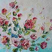 """Картины и панно handmade. Livemaster - original item Картина маслом с цветами """"Розовые розы"""" 40/50 см. Handmade."""