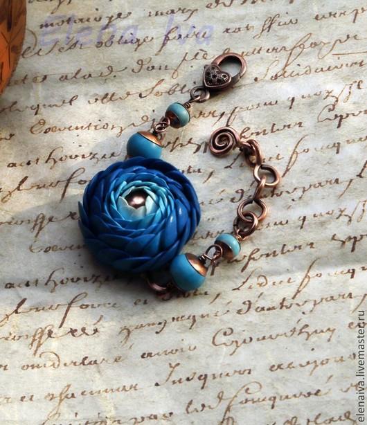 Браслеты ручной работы. Ярмарка Мастеров - ручная работа. Купить Браслет из полимерной глины Синее море. Handmade. Синий, медь