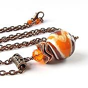 Украшения ручной работы. Ярмарка Мастеров - ручная работа кулон Марблс оранжево-коричневый. Handmade.
