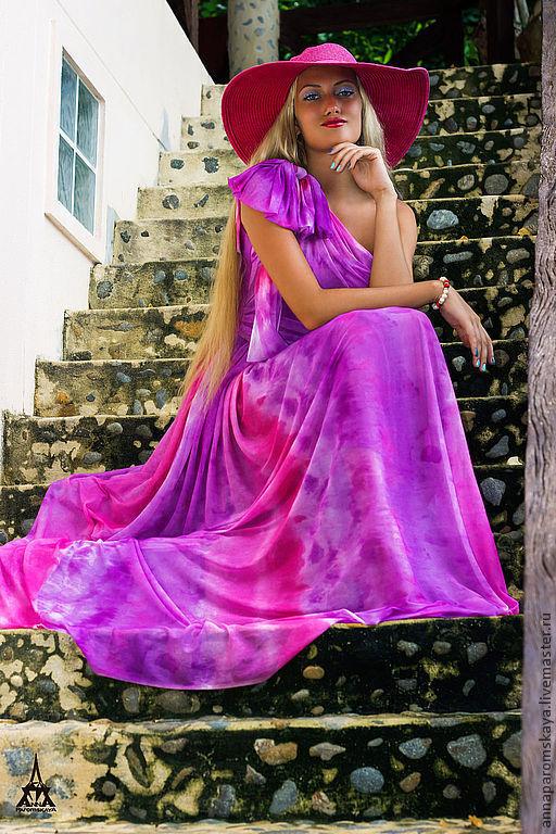 """Платья ручной работы. Ярмарка Мастеров - ручная работа. Купить Платье """"Акварель"""". Handmade. Платье летнее, платье из трикотажа"""