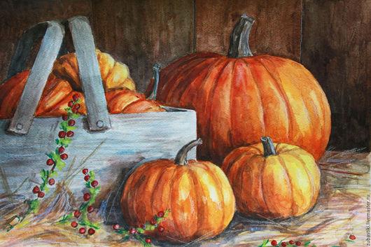 Натюрморт ручной работы. Ярмарка Мастеров - ручная работа. Купить Осенний урожай. Handmade. Оранжевый, тыквы, натюрморт с фруктами, Живопись