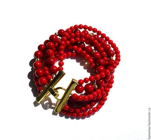 Браслеты ручной работы. Ярмарка Мастеров - ручная работа. Купить Коралловый браслет многорядный КРАСНОЕ МОРЕ. Handmade. Ярко-красный