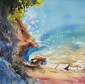 """Картины и панно ручной работы. Ярмарка Мастеров - ручная работа Акварель """"Июль цвета морской волны"""". Handmade."""
