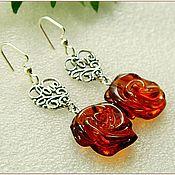 """Украшения ручной работы. Ярмарка Мастеров - ручная работа Серьги """"Розы для любви""""  янтарь серебро. Handmade."""