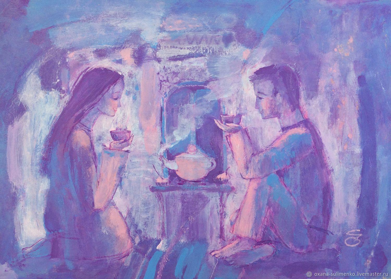 """""""Жасминовый чай"""" влюбленная картина. Авторская живопись акрилом, Картины, Краснодар,  Фото №1"""