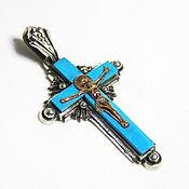 Украшения handmade. Livemaster - original item cross: Orthodox cross with simulated turquoise. Handmade.