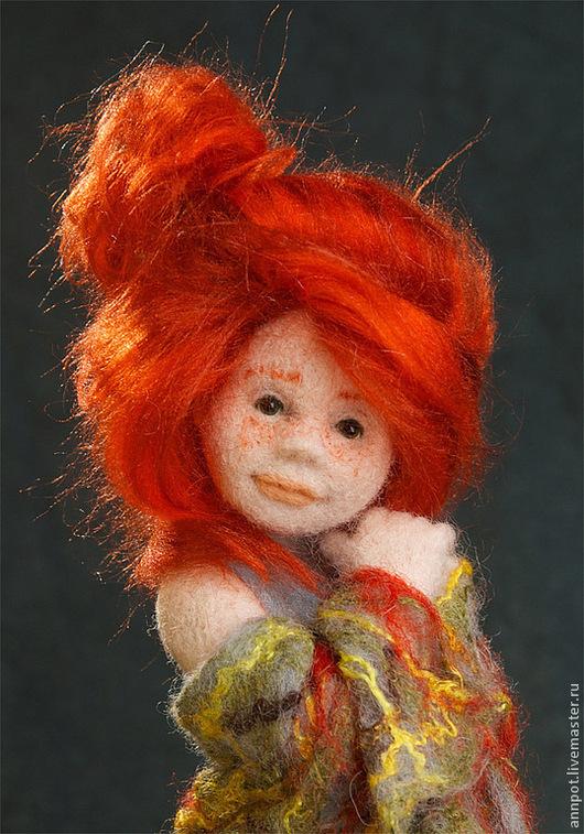 Коллекционные куклы ручной работы. Ярмарка Мастеров - ручная работа. Купить Авторская войлочная кукла Ноябринка. Handmade. Серый, девочка