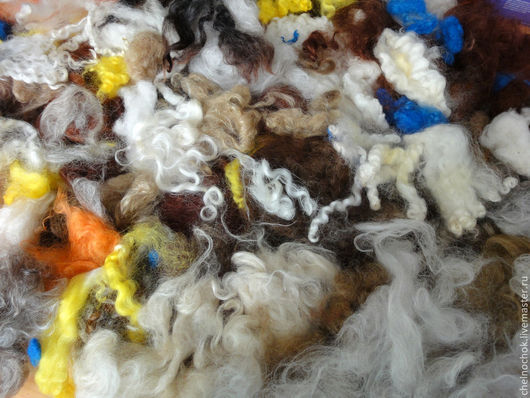 Валяние ручной работы. Ярмарка Мастеров - ручная работа. Купить Шерсть овечья для валяния, мытая. Очёс. Ассорти.. Handmade. Шерсть