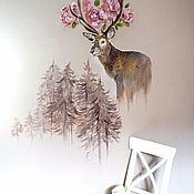 Картины и панно handmade. Livemaster - original item Painted wall - picture on the wall, the rabbit and the Deer. Handmade.