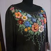 """Платье из льна с ручной вышивкой""""Старая Англия"""""""