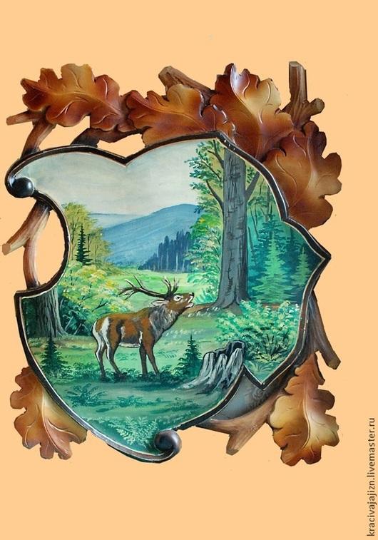 """Животные ручной работы. Ярмарка Мастеров - ручная работа. Купить картина """"Олень"""". Handmade. Бежевый, картина на стену, резьба по дереву"""