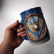 Посуда handmade. Livemaster - original item Vikings - blue ceramic carved mug with shield and runes. Handmade.