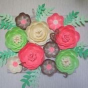 Подарки к праздникам ручной работы. Ярмарка Мастеров - ручная работа Цветочное панно музыкальное. Картина из бумажных цветов. Handmade.