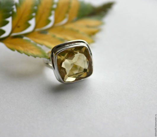 """Кольца ручной работы. Ярмарка Мастеров - ручная работа. Купить Кольцо """"Цитрин квадрат"""" в серебре. Handmade. Натуральные камни"""
