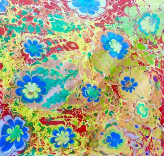 """Шали, палантины ручной работы. Ярмарка Мастеров - ручная работа. Купить Платок"""" Весеннее настроение"""". Handmade. Разноцветный, рисование на воде"""
