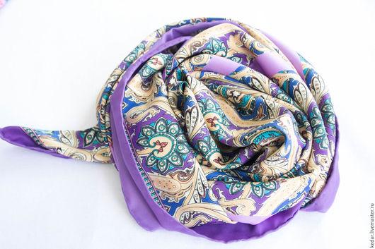 """Шали, палантины ручной работы. Ярмарка Мастеров - ручная работа. Купить Натуральный шелковый платок из ткани ETRO  """"Patterns"""" розовый. Handmade."""