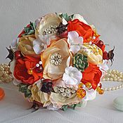 Wedding bouquets handmade. Livemaster - original item orange Brooch bouquet with succulents. Handmade.