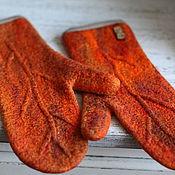 Аксессуары handmade. Livemaster - original item Mittens felted orange mood. Handmade.
