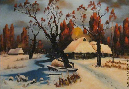 Пейзаж ручной работы. Ярмарка Мастеров - ручная работа. Купить зима. Handmade. Коралловый, холст, масло, Романтический, реализм, зима