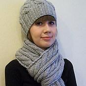 Аксессуары ручной работы. Ярмарка Мастеров - ручная работа Вязаный комплект серого цвета: шарф и шапочка. Handmade.