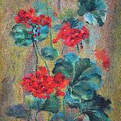 Картины и панно ручной работы. Ярмарка Мастеров - ручная работа Картина Герань летом. Handmade.