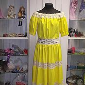 Одежда ручной работы. Ярмарка Мастеров - ручная работа Льняное платье с кружевом. Handmade.