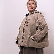 Куртки ручной работы. Ярмарка Мастеров - ручная работа Льняная куртка с флисовой подкладкой с капюшоном. Handmade.