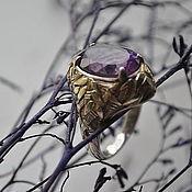 """Перстень ручной работы. Ярмарка Мастеров - ручная работа Кольцо серебро """"Бамбук"""" аметист перстень. Handmade."""