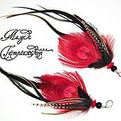 Украшения handmade. Livemaster - original item Red long feather earrings of the peacock and the cock.. Handmade.