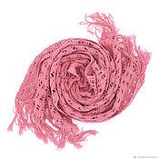 Аксессуары handmade. Livemaster - original item A scarf a stole woven by using hemstitch. pink. cotton. Handmade.