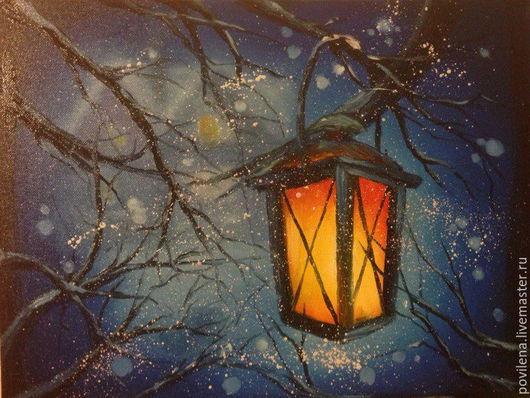 """Пейзаж ручной работы. Ярмарка Мастеров - ручная работа. Купить Картина """"Фонарь"""". Handmade. Тёмно-синий, зима, рождество"""