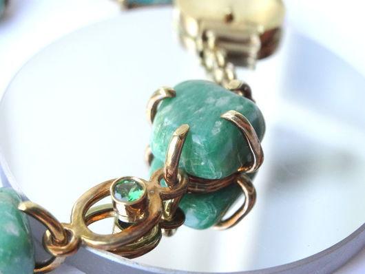 Браслеты ручной работы. Ярмарка Мастеров - ручная работа. Купить Серебряный браслет с природными камнями (амазонит). Handmade. Зеленый