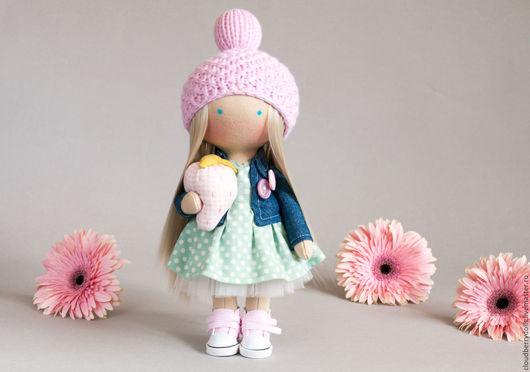 Куклы тыквоголовки ручной работы. Ярмарка Мастеров - ручная работа. Купить Кукла Фиби с клубничкой. Handmade. Розовый, авторская игрушка