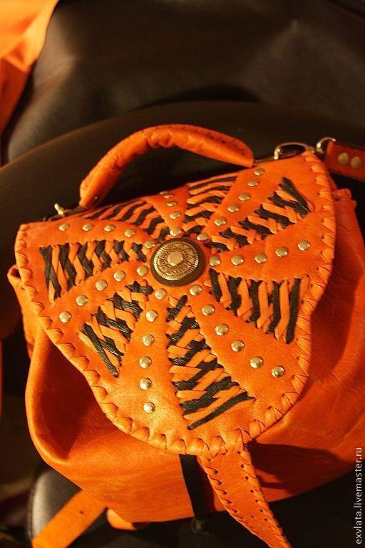 """Рюкзаки ручной работы. Ярмарка Мастеров - ручная работа. Купить Рюкзак кожаный женский """"Солнечная мельница"""". Handmade. Рыжий"""