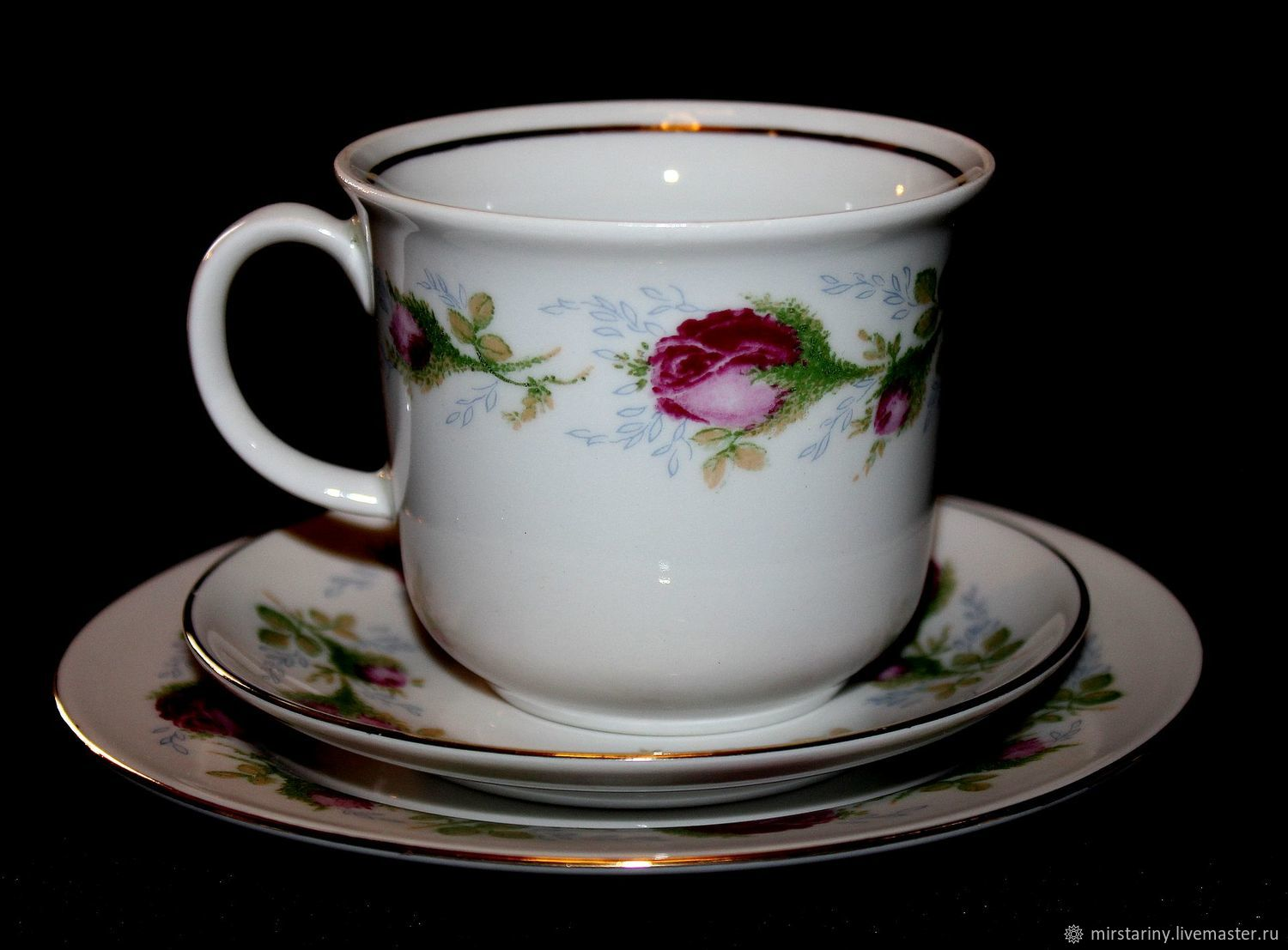 Beautiful tea troika with rosebuds, Ilmenau, Germany, Vintage mugs, Moscow,  Фото №1