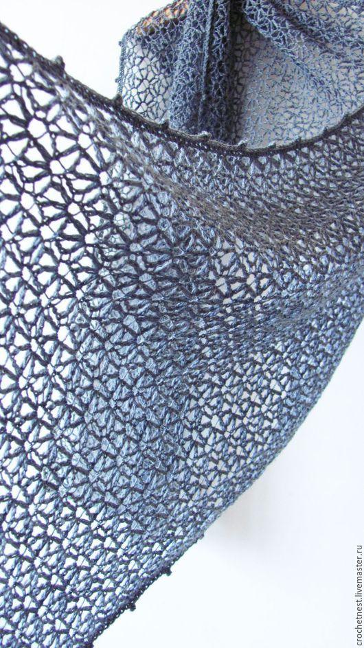 """Шарфы и шарфики ручной работы. Ярмарка Мастеров - ручная работа. Купить Ажурный шарф """"Туман"""". Handmade. Темно-серый, вязаный"""