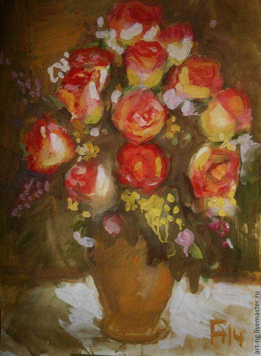 Картины цветов ручной работы. Ярмарка Мастеров - ручная работа. Купить Розы. Handmade. Комбинированный, натюрморт, роза, картина в подарок