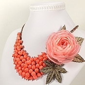 Украшения handmade. Livemaster - original item Drunken Coral. Necklace, brooch flower. Handmade.