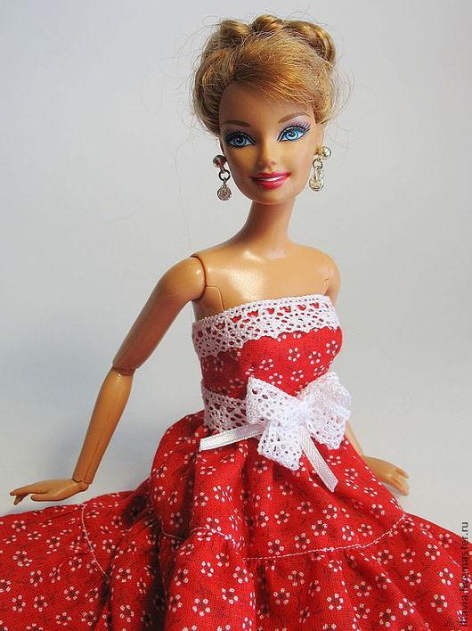 Одежда для кукол ручной работы. Ярмарка Мастеров - ручная работа. Купить Кукольное платье Красная Ромашка. Handmade. Платье для кукол