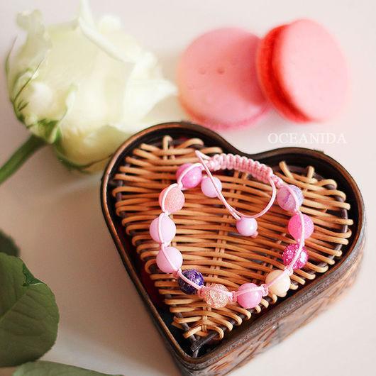 """Браслеты ручной работы. Ярмарка Мастеров - ручная работа. Купить Браслет """"Первый поцелуй"""". Handmade. Розовый, подарок девушке, романтика"""