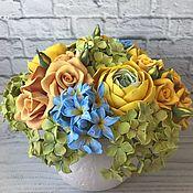 Цветы и флористика handmade. Livemaster - original item Bouquet of flowers in yellow and blue. Handmade.