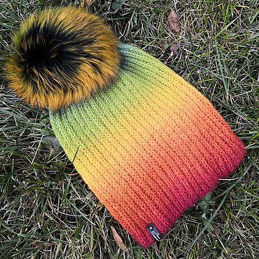 Accessories handmade. Livemaster - original item Hat with pompom rainbow (English knit). Handmade.