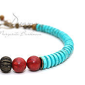 Украшения handmade. Livemaster - original item Beads Coral turquoise choker turquoise with coral beads short eco. Handmade.