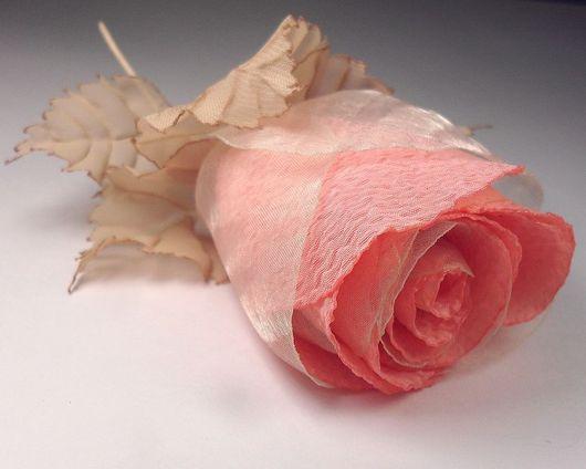 Brooches handmade. Livemaster - handmade. Buy Coral rose. Brooch..Fabric flower, pink, crepe