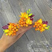 Свадебный салон ручной работы. Ярмарка Мастеров - ручная работа Рябина с фрезиями из глины на шпильках. Handmade.