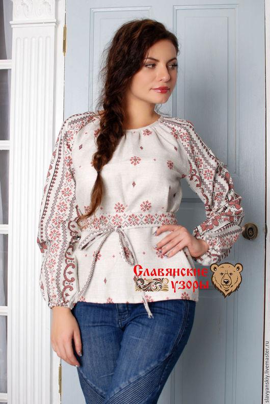 """Одежда ручной работы. Ярмарка Мастеров - ручная работа. Купить Блуза """"Добромира"""" орнамент. Handmade. Бежевый, рубашка, славянский стиль"""