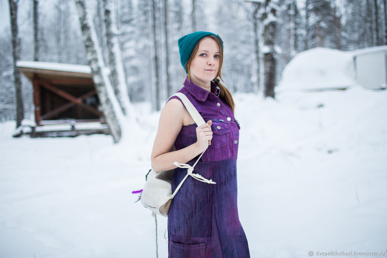 dresses: Denim purple sundress dress from recycled jeans, Dresses, St. Petersburg,  Фото №1
